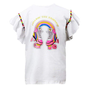 White Shirt featuring Roller Skate Print with a Rainbow