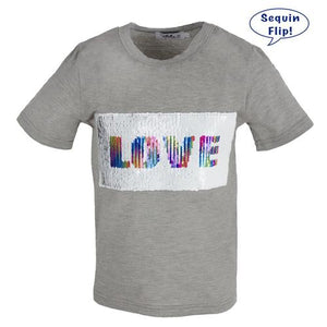 L&B LOVE FLIP SEQUIN TEE