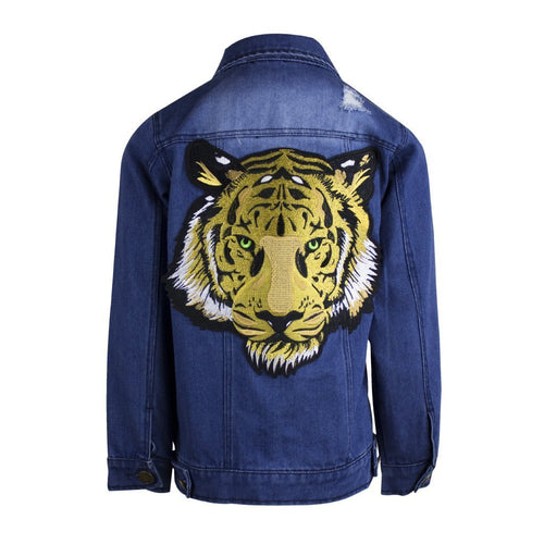 Boys denim jacket featuring a tiger print on the back