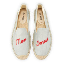 Load image into Gallery viewer, Soludos slippers with Mon Amour embroidered