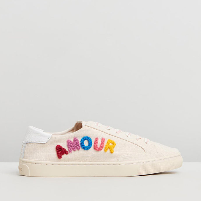 Soludos sneakers with colored Stitching spelling amour