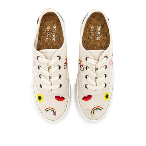 Soludos Porto tan sneakers with colored embroidery