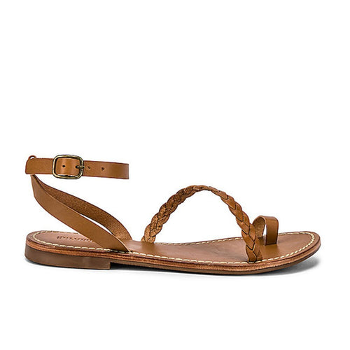 Soludos Women Brown Braided Leather Sandals