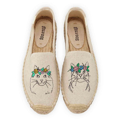 Soludos tab slippers with embroidered cats