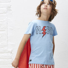 Load image into Gallery viewer, Blue Tee Shirt with Red Cape Attached