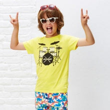 Load image into Gallery viewer, cool boy wearing a yellow tee with drummer kit