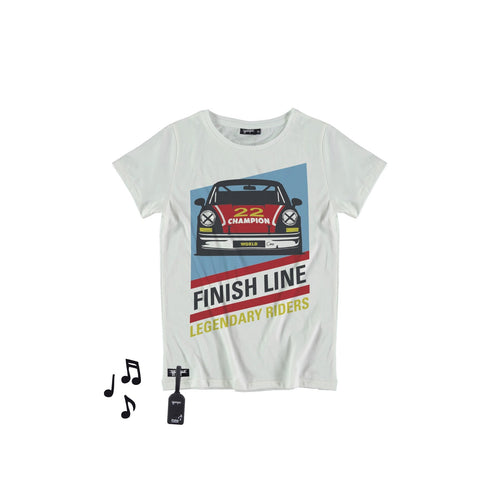 white shirt with a print of a race car