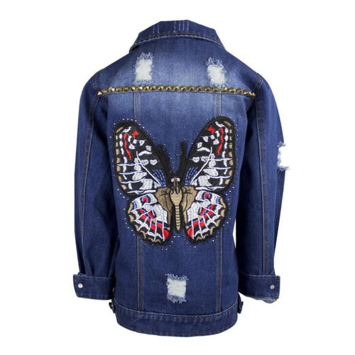Denim Jacket Featuring Butterfly stiched on the back
