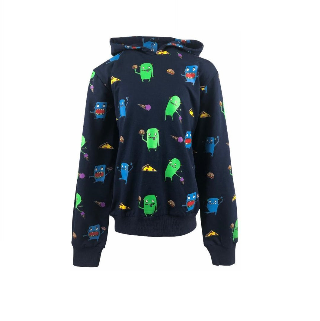 hoodie featuring pictures of green monsters