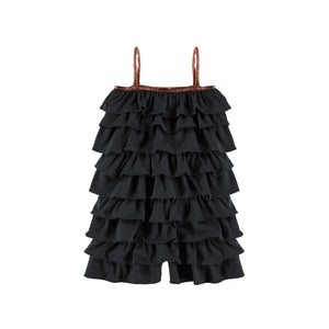 Yporque Black Ruffles Girls Jumpsuit