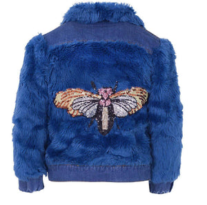 L&B DRAGONFLY FUR DENIM JACKET