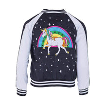 Load image into Gallery viewer, L&B MIDNIGHT DREAM SATIN UNICORN BOMBER