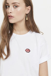 White Tee with a small lip on the top