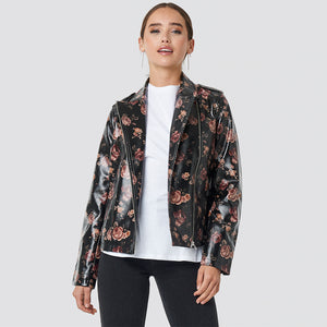 NAKD ROSE PRINTED PU SHORT JACKET
