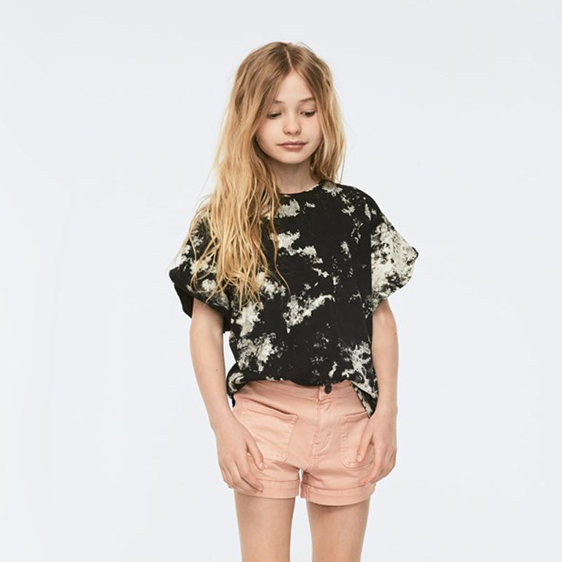 Tie Die Shirt with Shoulder Ruffles