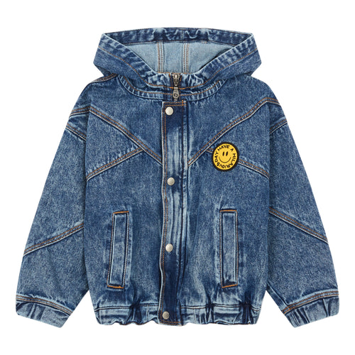 oversized denim jacket with hood and  yellow smiley face