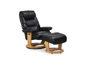 La-Z-Boy Asta Nordic Leather Recliner and Foot Stool