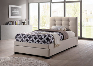 Bronte King Single Upholstered Bed with end Drawer