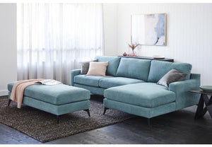 Como Fabric Lounge with Chaise and Ottoman