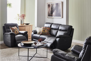 Derby 3 Piece Leather Electric Recliner Suite