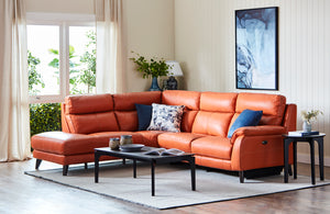 Clayton Leather Corner Suite with Electric Recliner