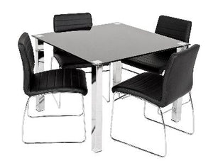 Coogee 5 Piece Square Dining Setting Glass top with PU Chairs