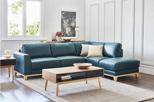 Lawrence Leather Corner Suite with Chaise