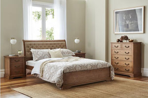 Malibu Timber Bed with Upholstered Bedhead