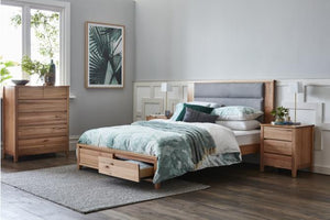 Maxwell Tasmanian Oak Bed with Padded Bedhead and Storage