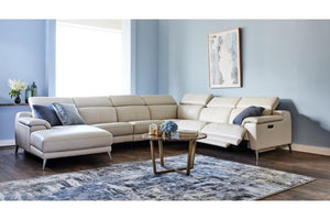 Opal Leather Corner Suite with Chaise