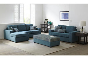 Piazza Fabric 3 Seater with Chaise, 2 Seater and Storage Ottoman