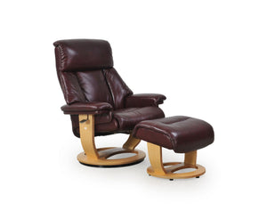 La-Z-Boy Rolf Leather Large Nordic Recliner and Ottoman