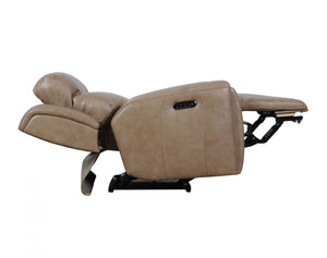 United Leather Power Recliner with Adjustable Headrest and USB Port