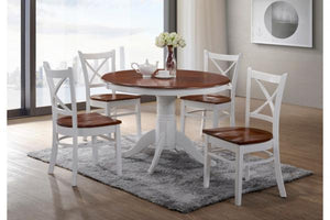 Crossback Dining Setting with Timber Seats - White and Antique Oak