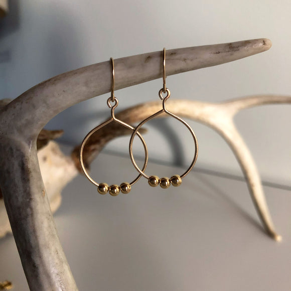 Three Gold Ball Earring