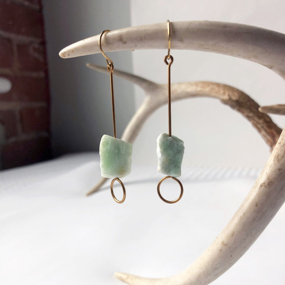 #052 - Raw Jade Earring - Wholesale