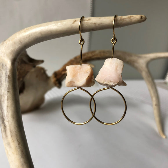Raw Pink Opal Earring