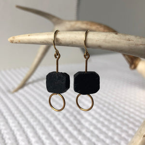 #028 - Black Tourmaline Earring - Wholesale