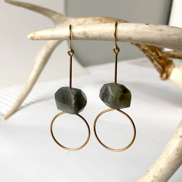 Labradorite Faceted Earring