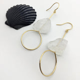 Raw Crystal Quartz Earring
