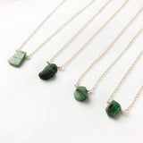 #064 - Emerald Small Pendant Necklace - Wholesale
