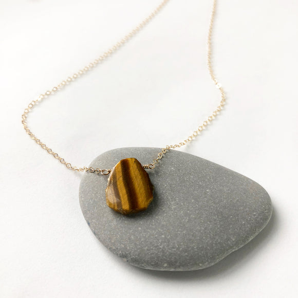 #065 - Tiger's Eye Small Pendant Necklace - Wholesale