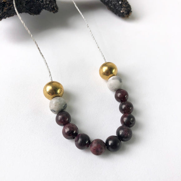Garnet + Picasso Jasper Necklace