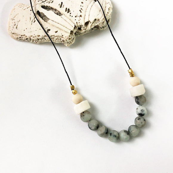 Sesame Jasper + Pink Opal + Riverstone Necklace