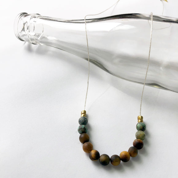 #097 - Tiger's Eye + African Turquoise Necklace - Wholesale