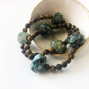 #112 - Tiger's Eye + African Turquoise Bracelet - Wholesale