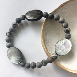 Picasso Jasper + Mother of Pearl Bracelet