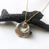 #046 - Mixed Metal Jingle Shell Cast Necklace - Wholesale