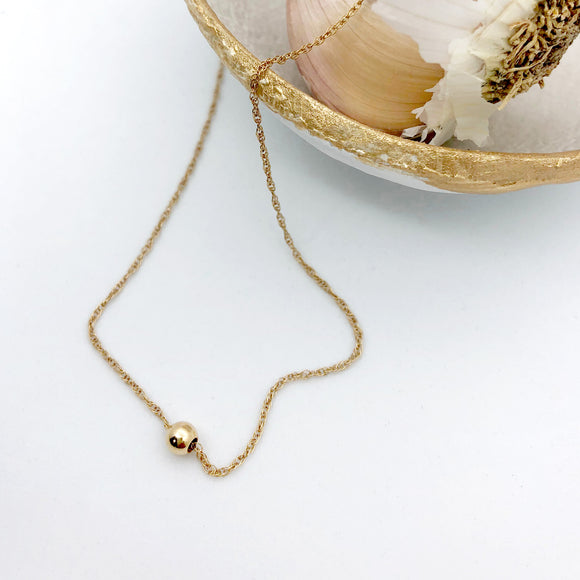 Single Gold Ball Necklace