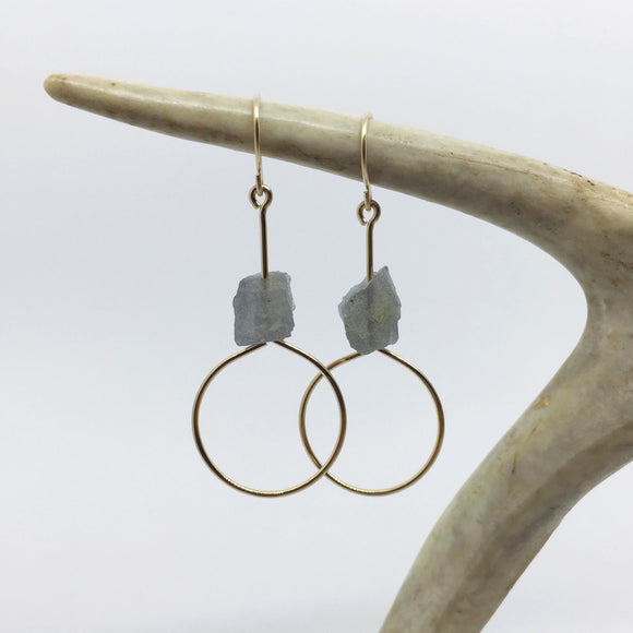 Raw Labradorite Earring